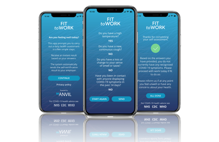 ANVIL GROUP LAUNCHES COVID-19 'FIT TO WORK' APP